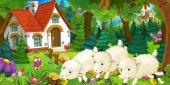 Fotografia scena del fumetto con le pecore felice e divertente correre e saltare vicino Agriturismo
