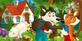 Fotografia scena del fumetto con pecore, lupo e volpe in foresta verde
