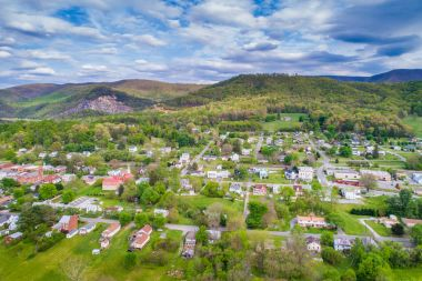 Aerial view of the town and surrounding mountains in Buchanan, V