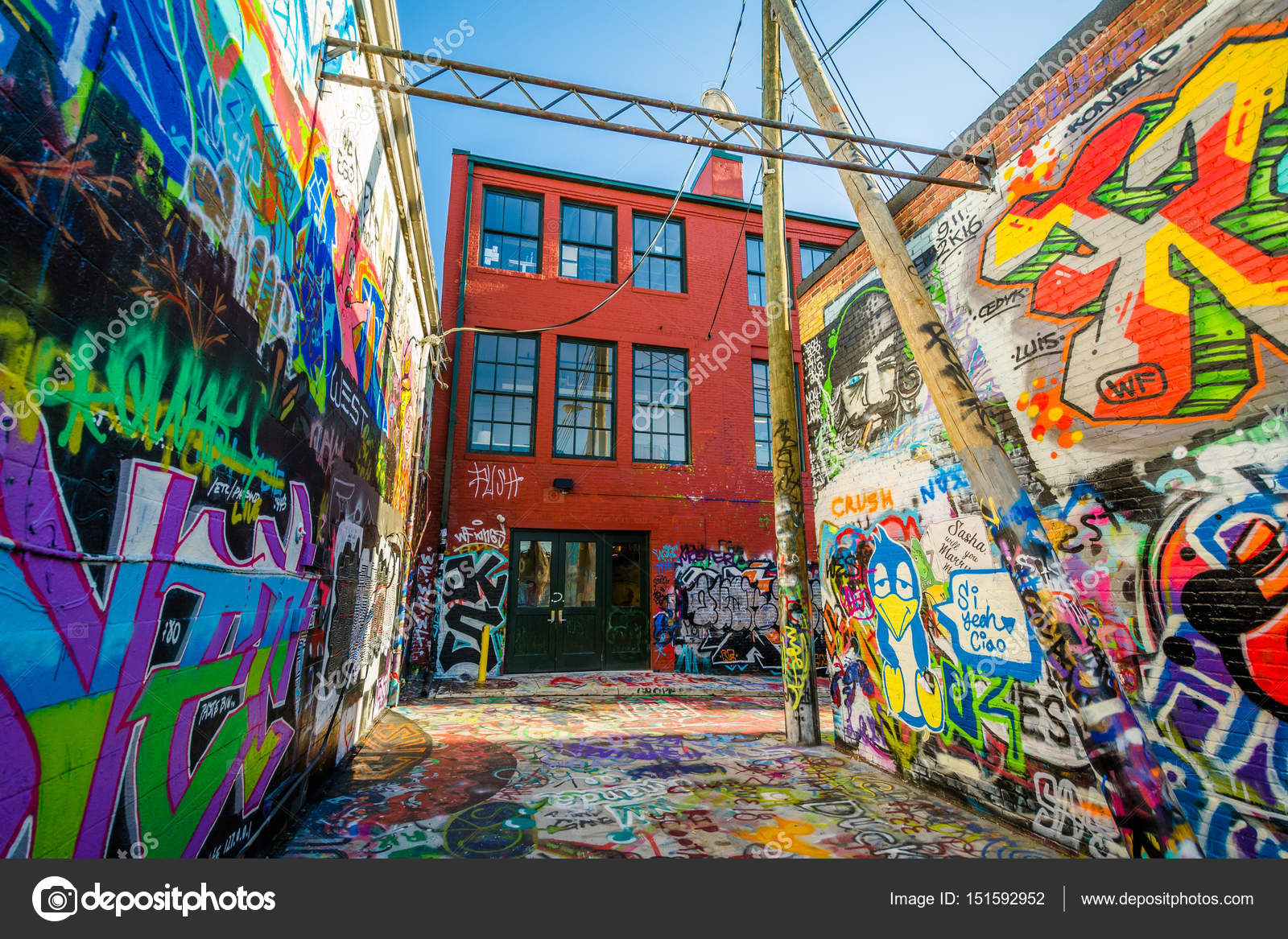 Street Art At Graffiti Alley In Baltimore Maryland Stock Photo