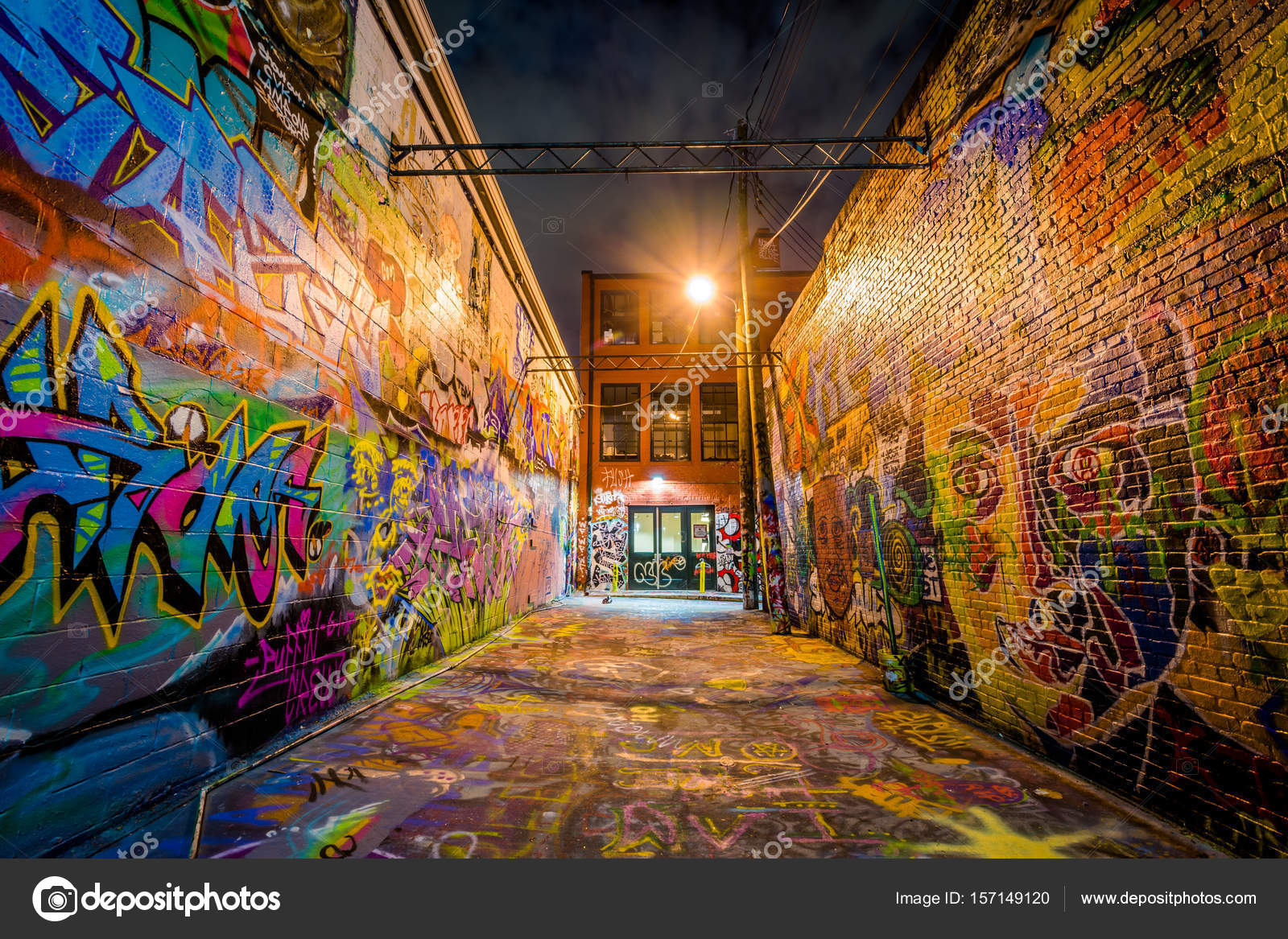 Graffiti Alley At Night In Station North Baltimore Maryland Stock Photo
