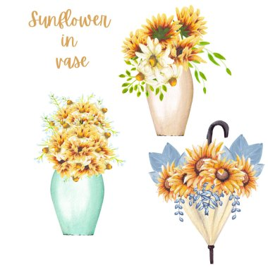 sunflower bouquets in vases and umbrellas