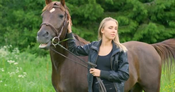 Young woman caressing her arabian horse standing in the field