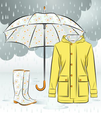 Women rain boots, jacket and umbrella with floral pattern