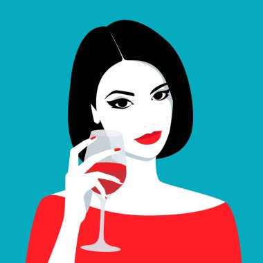 Girl holding glass of wine