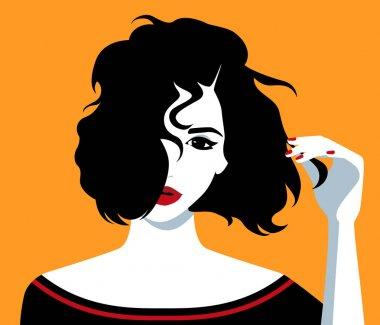 Girl holding her hair