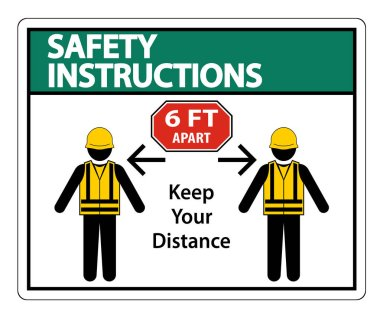 Safety Instructions Social Distancing Construction Sign Isolate On White Background,Vector Illustration EPS.10