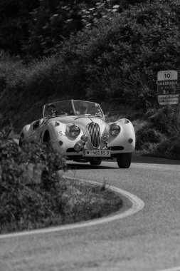 PESARO COLLE SAN BARTOLO , ITALY - MAY 17 - 2018 : JAGUAR XK 140 OTS 1955 on an old racing car in rally Mille Miglia 2018 the famous italian historical race (1927-1957)