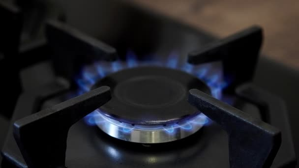 Tűzhely égő földgáz gyulladás közelről.