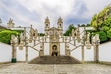 Stairway (Via Sacra) and church of Bom Jesus do Monte in Tenoes near Braga - Portugal