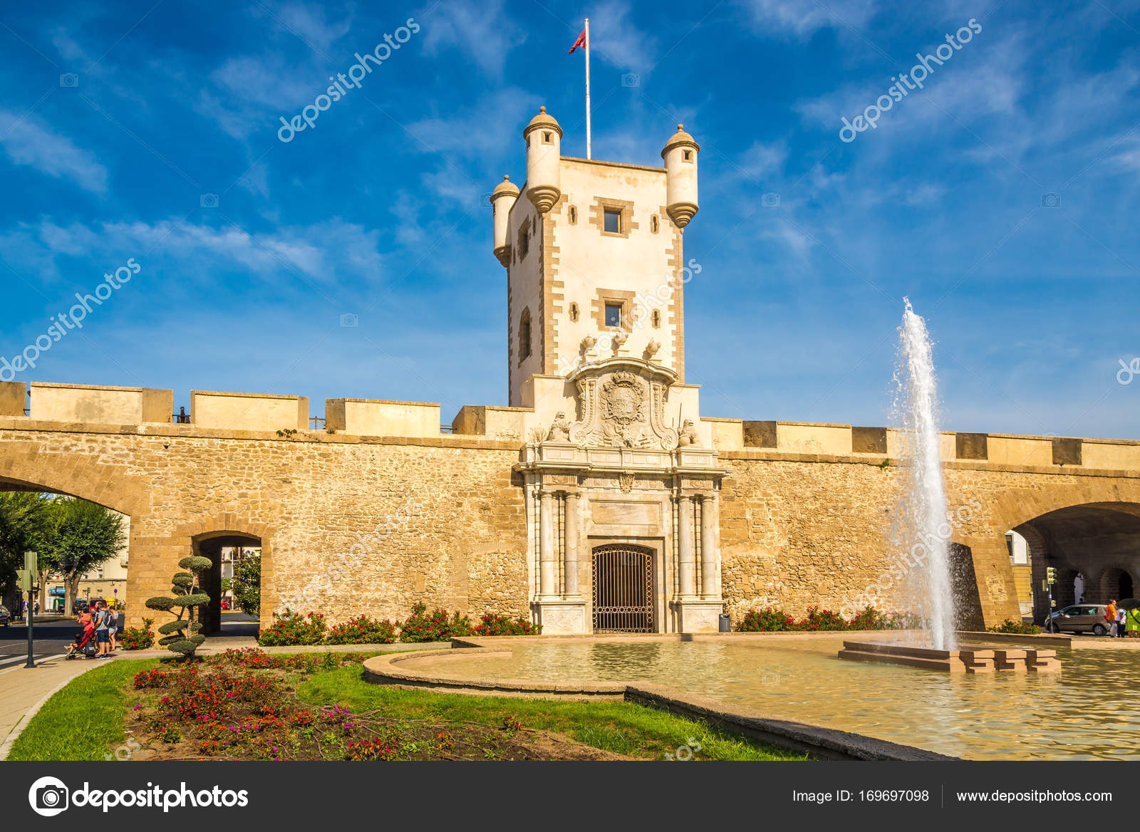 CADIZSPAIN - SEPTEMBER 302017 - View at the Tower of the Earth Doors at the Constitution place in Cadiz. Cadiz is the oldest continuously inhabited city ... & View at the Tower of the Earth Doors at the Constitution place in ...