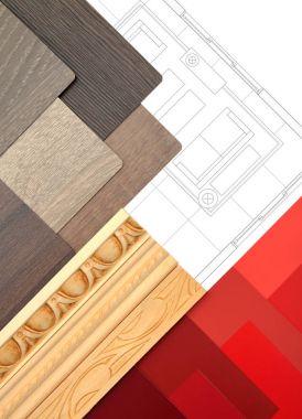Interior design elements in vertical composition