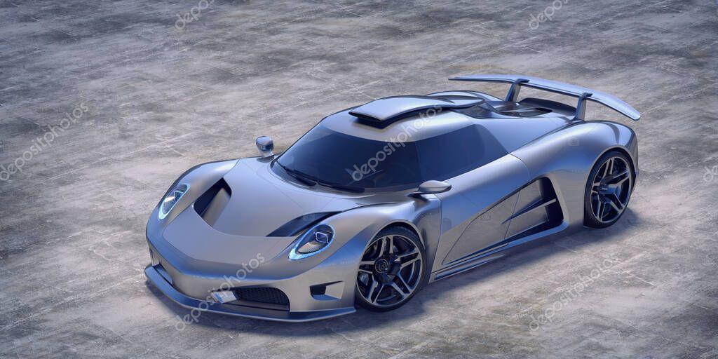 Rendering 3D di auto generiche senza marchio in ambiente di studio