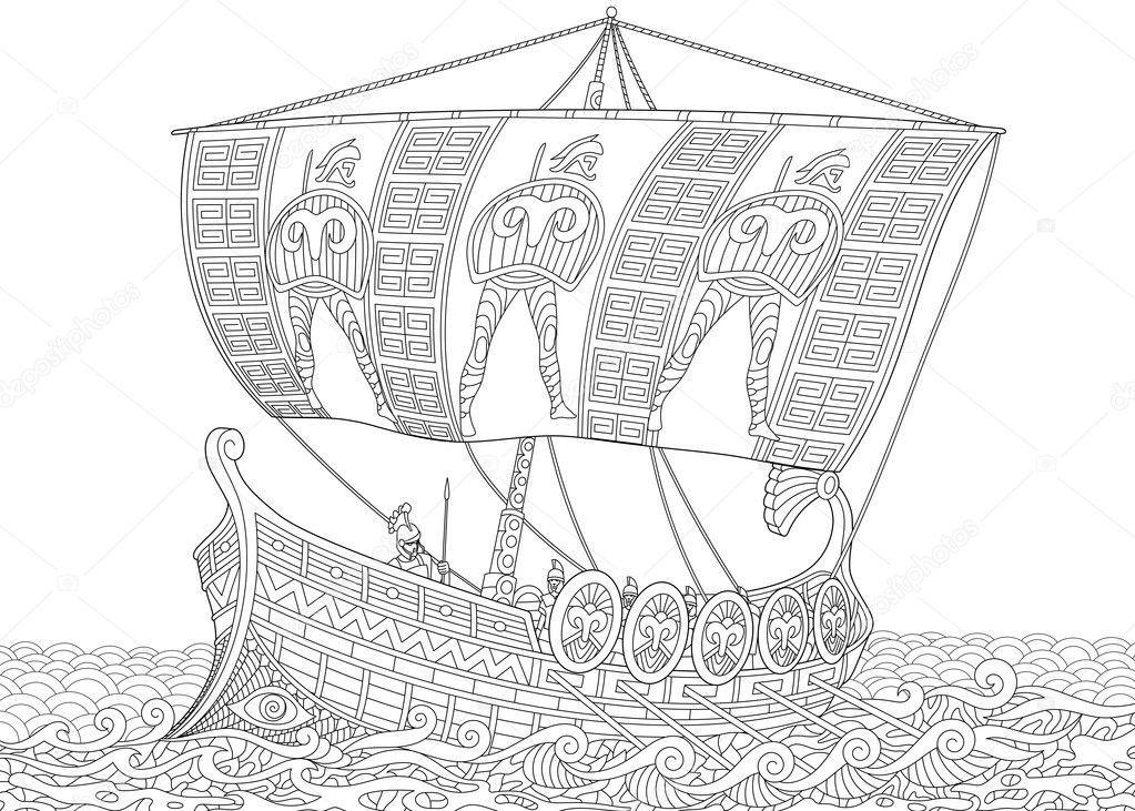 Antigua Galera griega zentangle estilizado — Archivo Imágenes ...