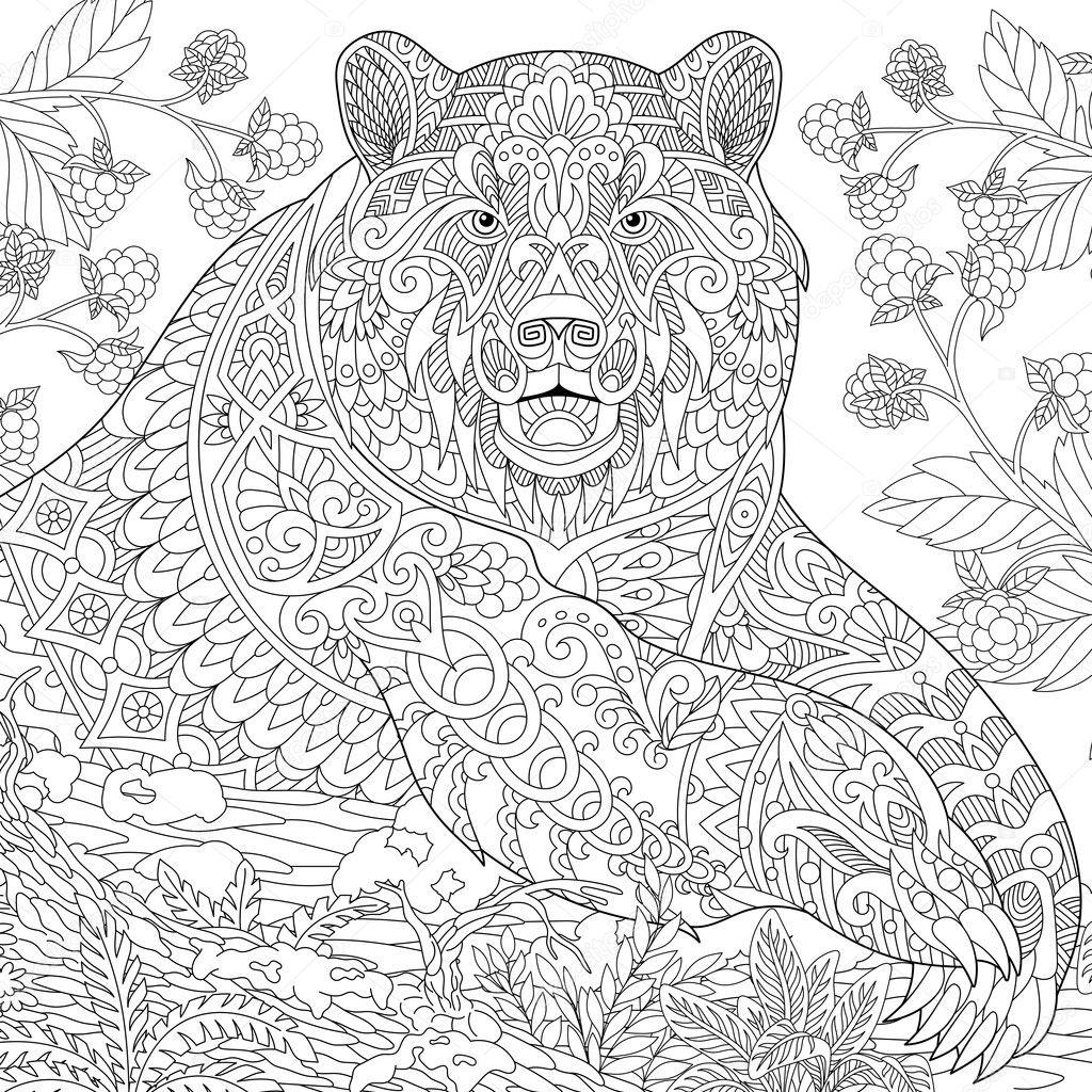 Zentangle estilizado oso grizzly — Vector de stock © Sybirko #126742418