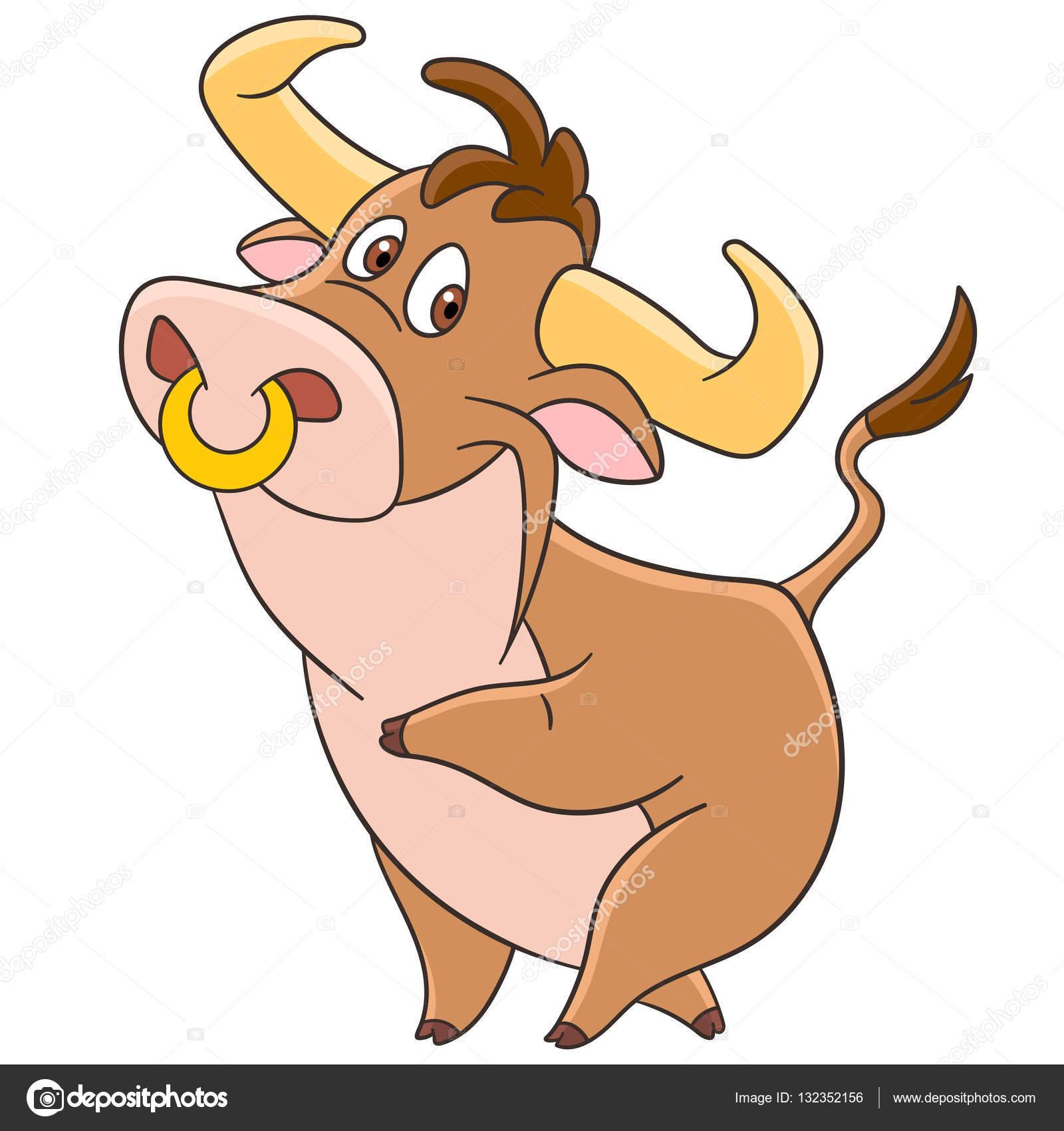 Dessin Animé Américain Bull Image Vectorielle Sybirko 132352156