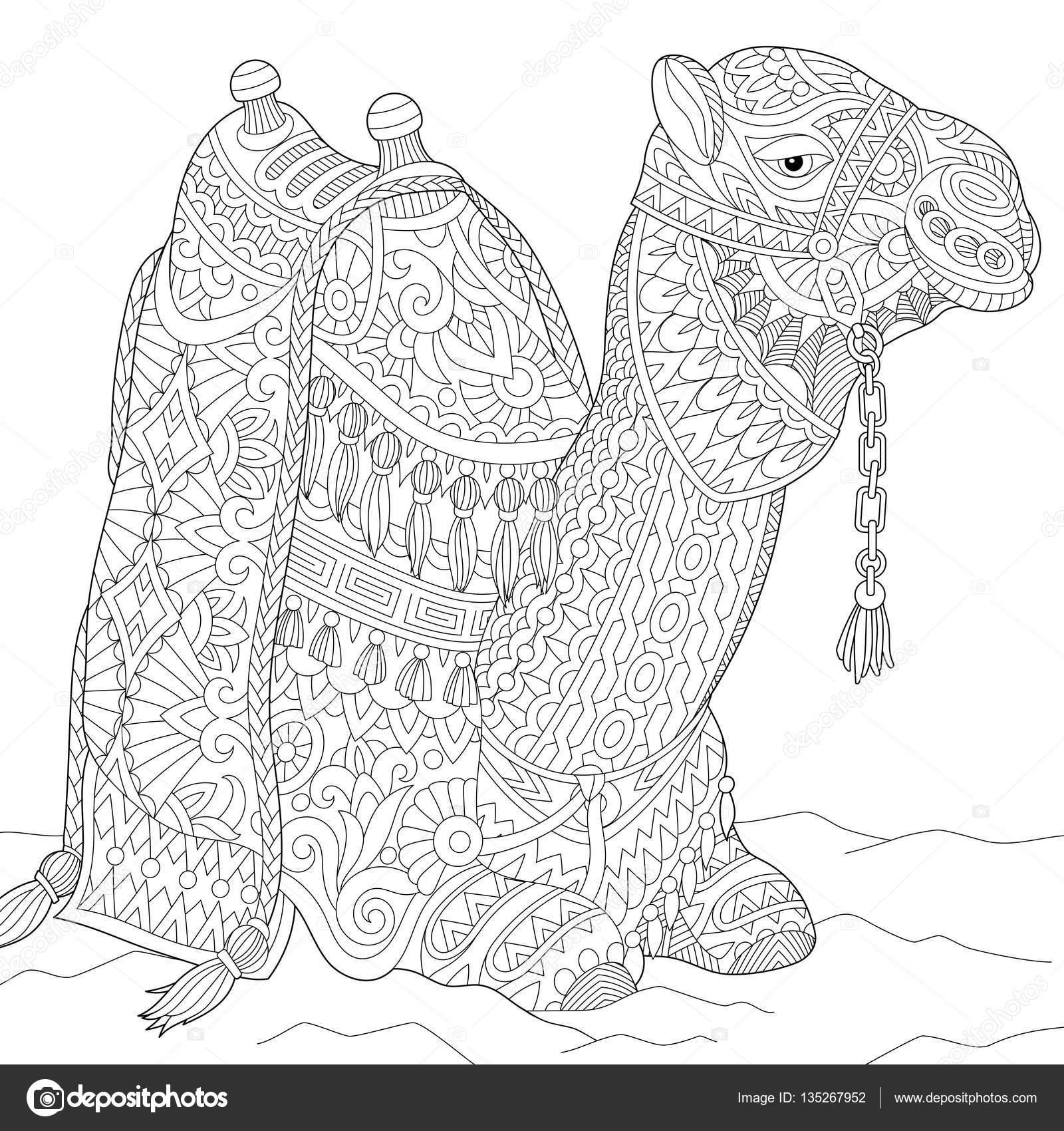 Camello de zentangle estilizado — Vector de stock © Sybirko #135267952