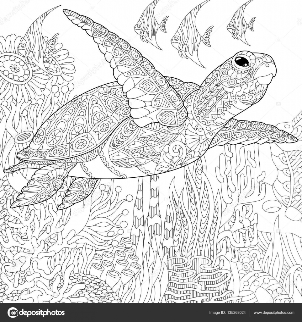 Zentangle stylis s poisson tortue image vectorielle sybirko 135268024 - Dessin poisson stylise ...