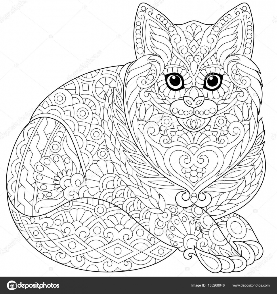 Zentangle Stilize Kedi Stok Vektör Sybirko 135268048