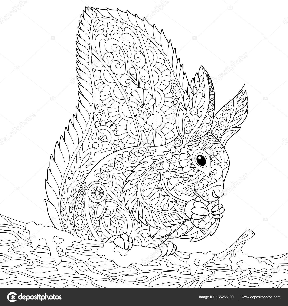 zentangle gestileerde eekhoorn stockvector 169 sybirko