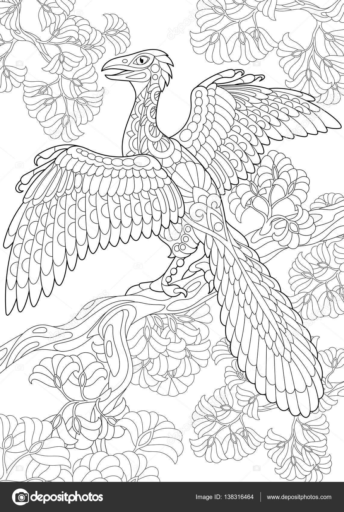 zentangle archeopteryx dinosaurio — Archivo Imágenes Vectoriales ...