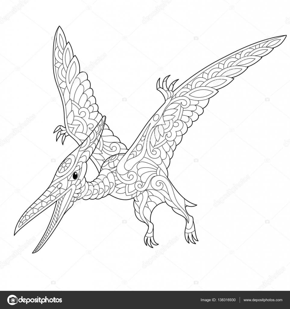 zentangle pterodactyl dinosaurus stockvector 169 sybirko