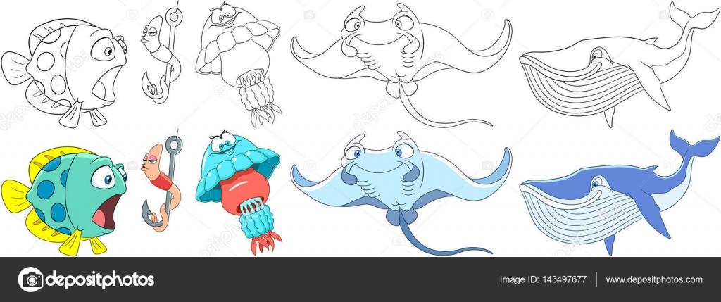 conjunto de dibujos animados animales bajo el agua — Archivo ...