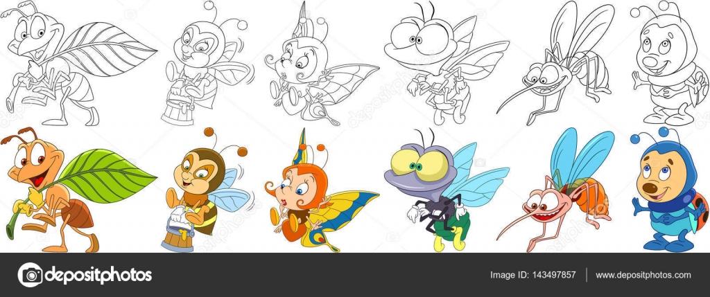 Dibujos: moscas y mosquitos para colorear | conjunto de dibujos ...