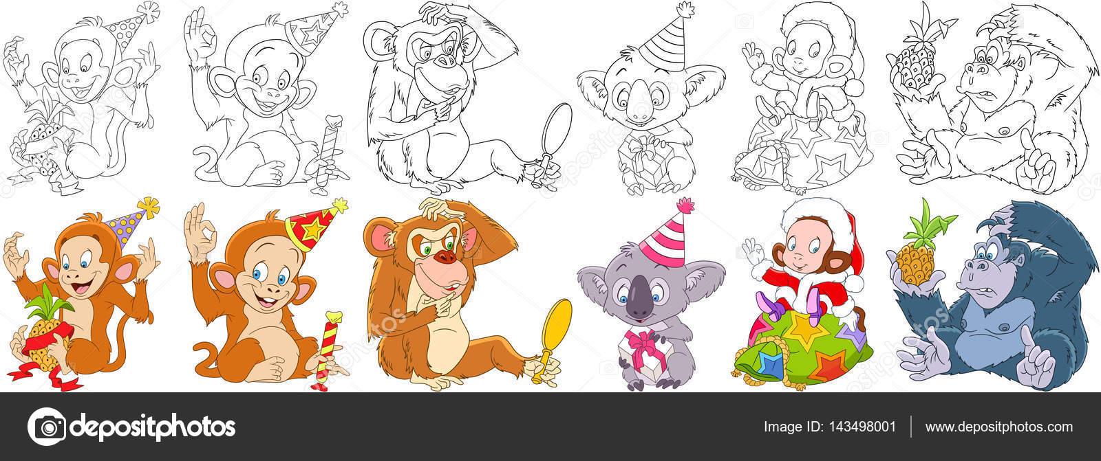 Conjunto de monos dibujos animados — Vector de stock © Sybirko ...