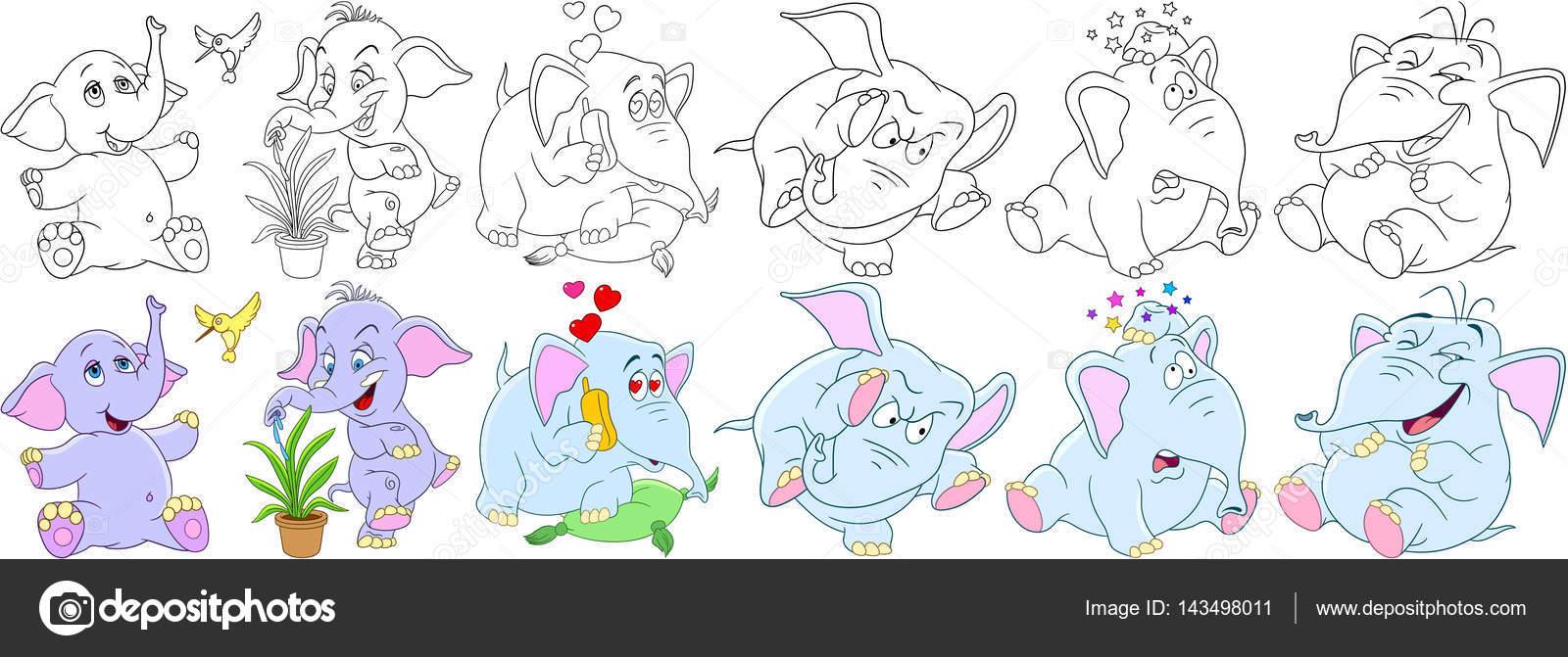 Cartoon-Elefanten-Satz — Stockvektor © Sybirko #143498011