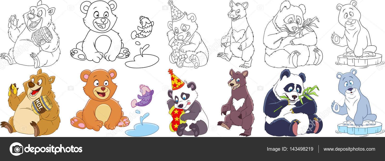 Insieme Di Orsi E Panda Del Fumetto Vettoriali Stock Sybirko