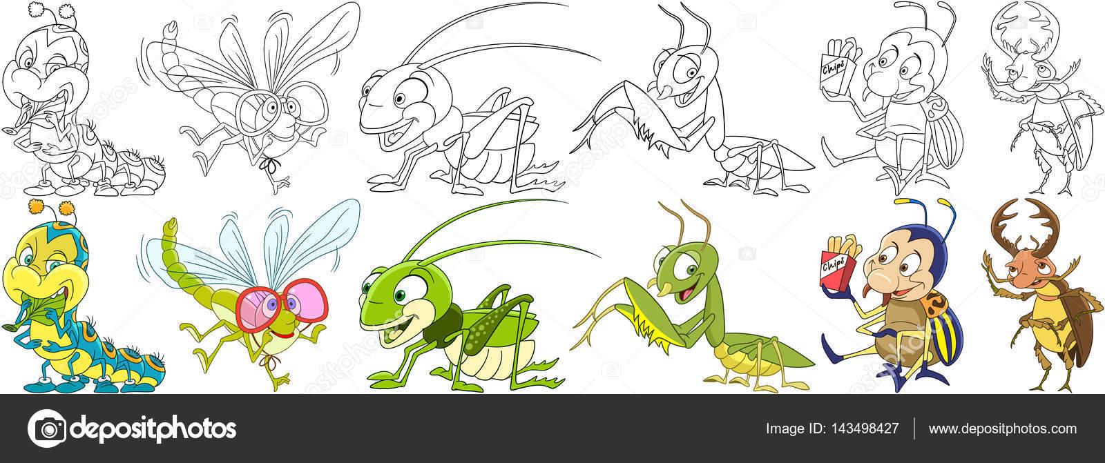 conjunto de dibujos animados los insectos — Vector de stock ...