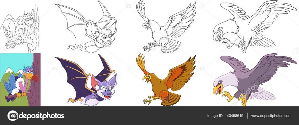 conjunto de dibujos animados depredadores aves — Archivo Imágenes ...