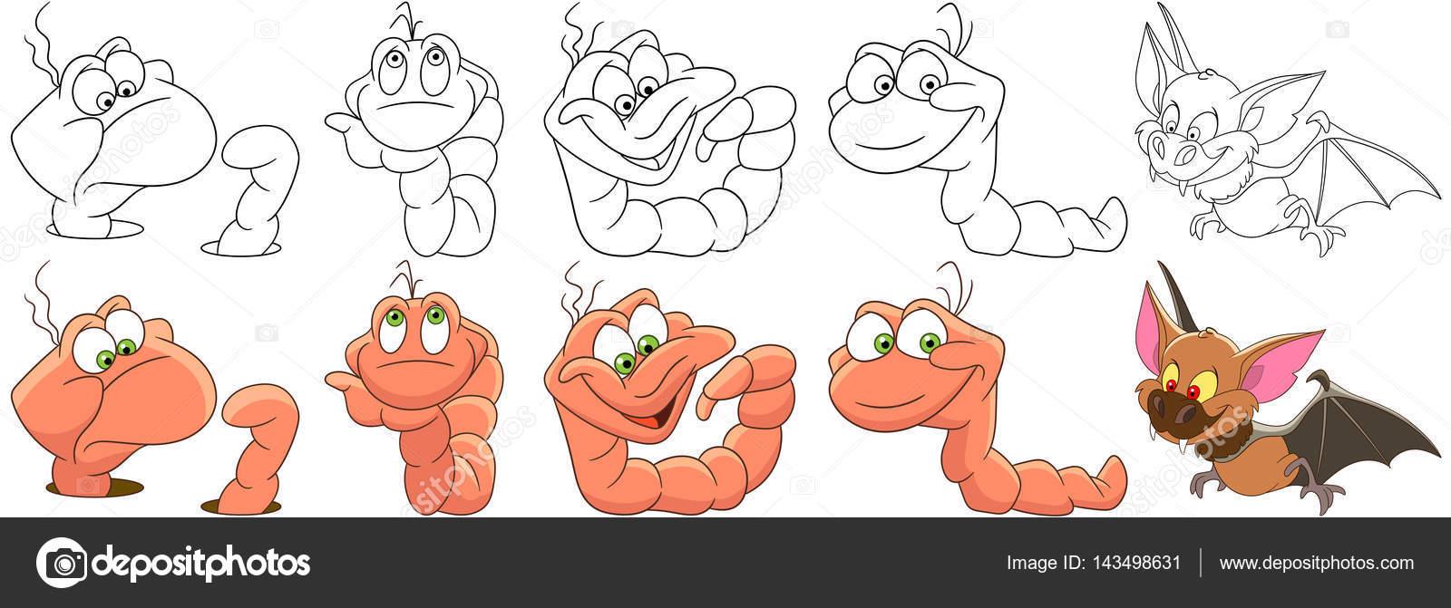Cartoon-Würmer und Fledermaus set — Stockvektor © Sybirko #143498631