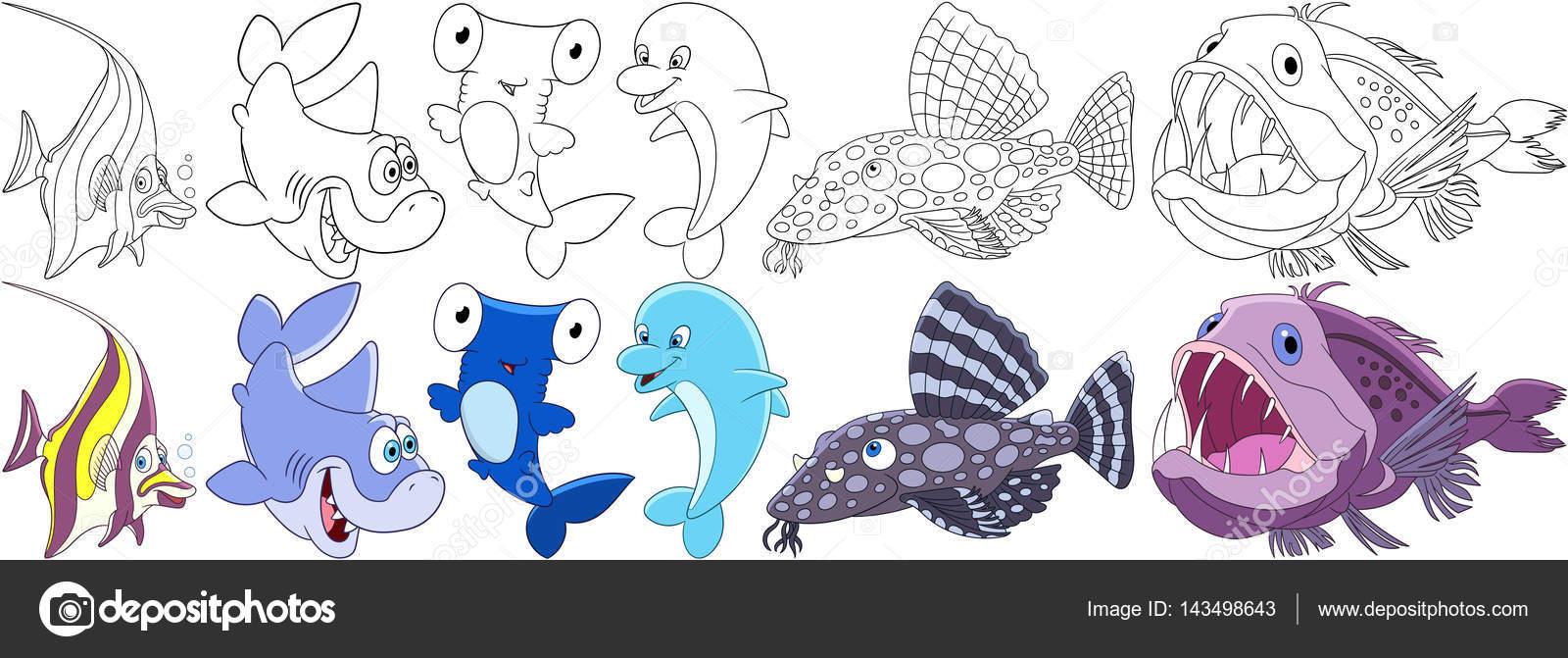 Cartoon-Unterwasserlebewesen-Satz — Stockvektor © Sybirko #143498643