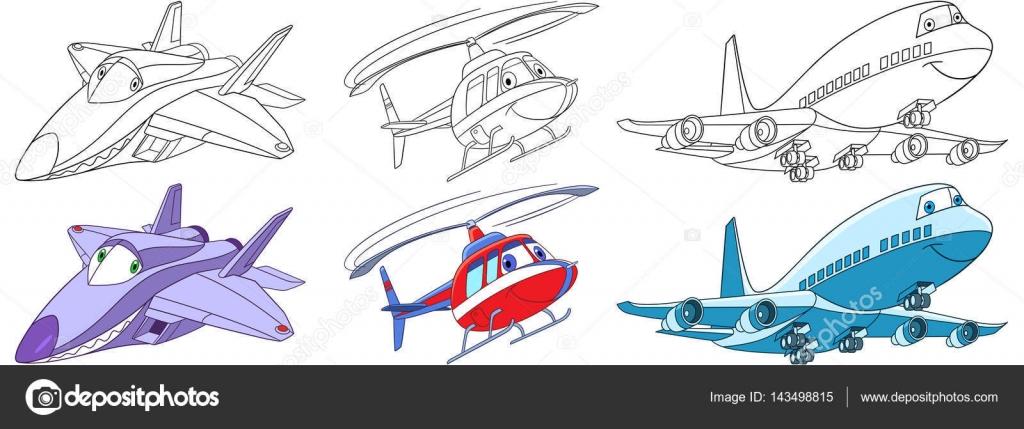 conjunto de aviones de dibujos animados — Vector de stock © Sybirko ...