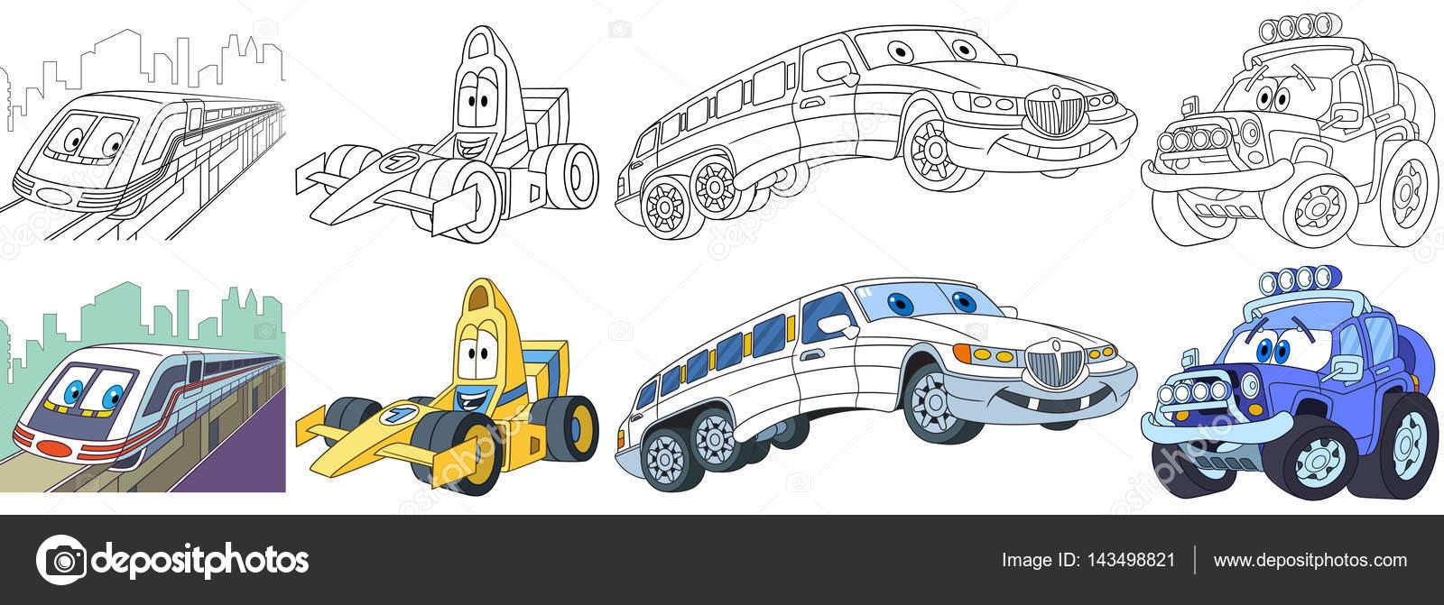 conjunto de dibujos animados coches rápidos — Archivo Imágenes ...