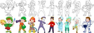 cartoon professions set