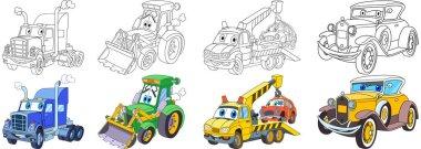 cartoon heavy cars set