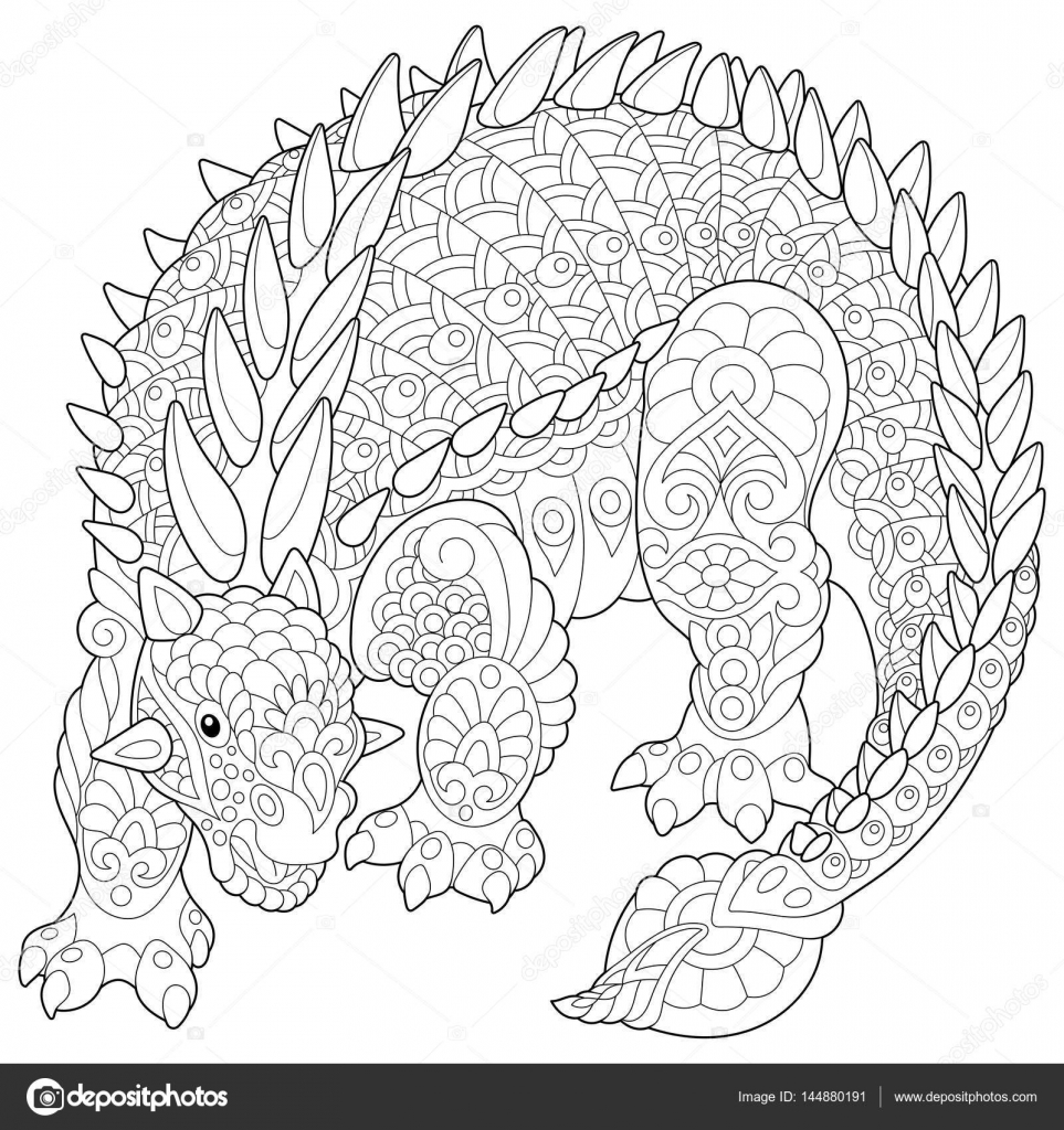 Zentangle anquilosaurio dinosaurio archivo im genes - Mandala dinosaure ...