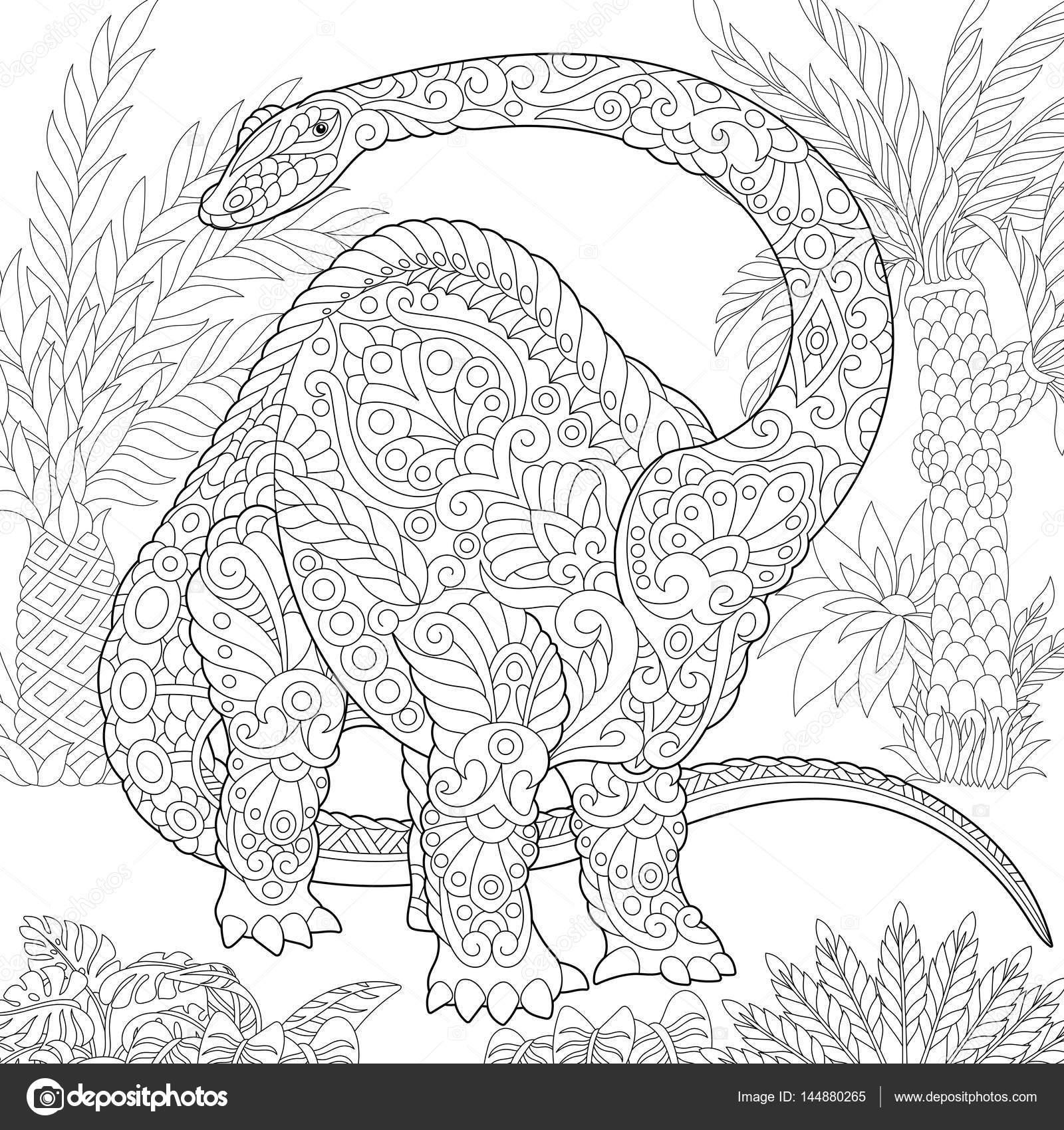 dinosaurio Brontosaurio de zentangle — Vector de stock © Sybirko ...