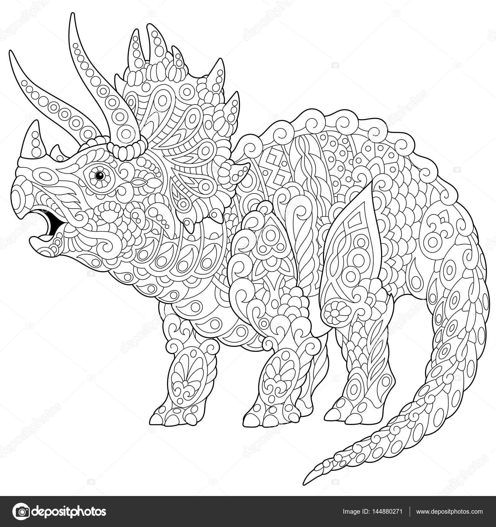 Dinozaur triceratops zentangle grafika wektorowa - Mandala dinosaure ...