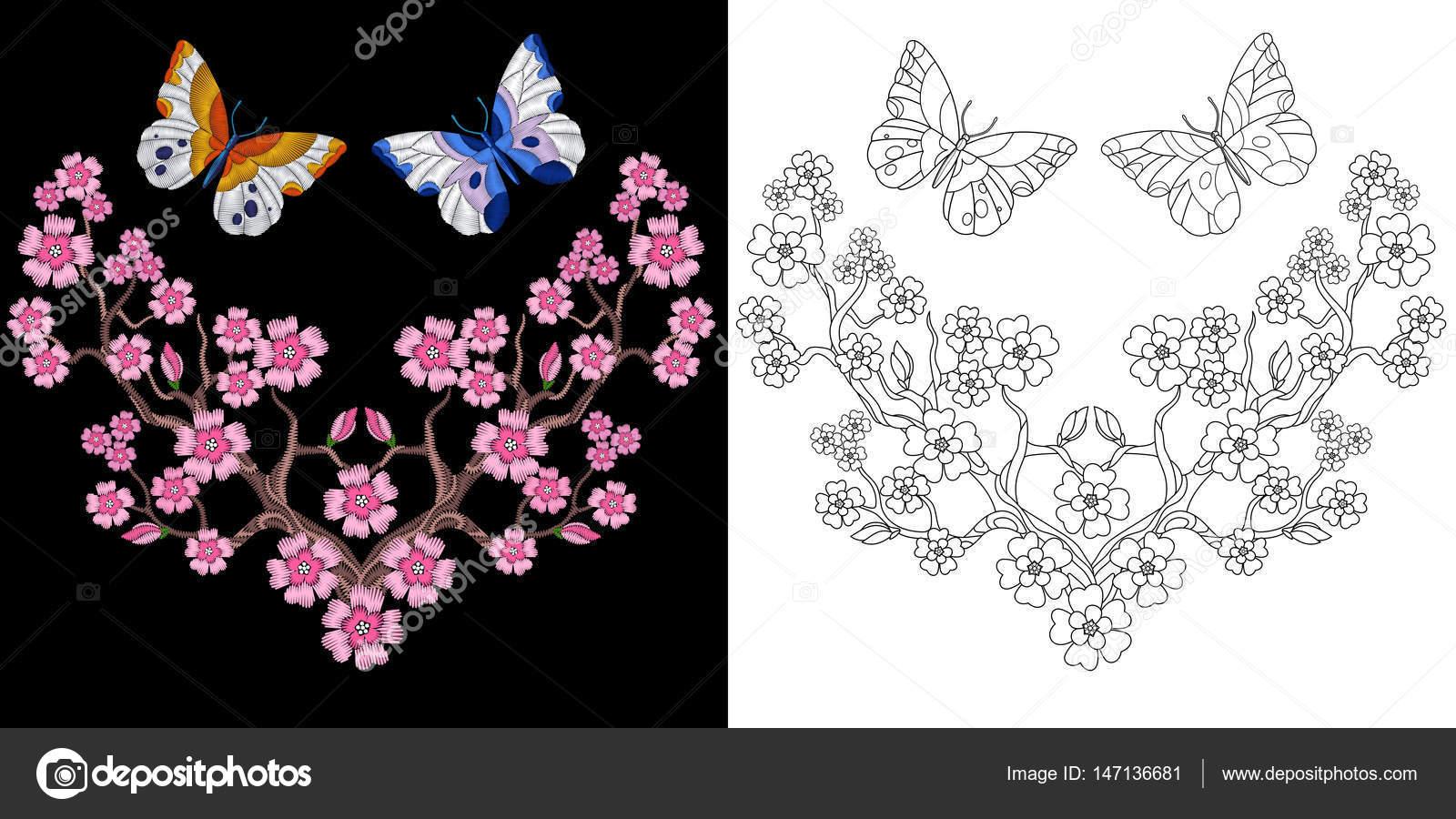 Dos mariposas para colorear | diseño de bordado mariposa sakura ...