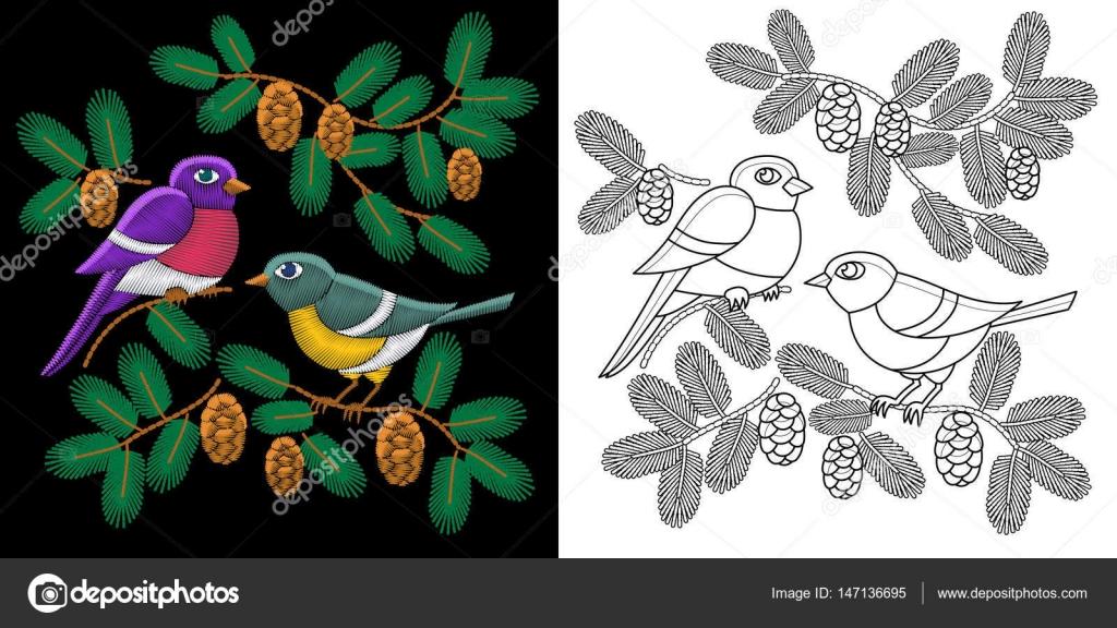 Embroidery Birds Design Stock Vector Sybirko 147136695