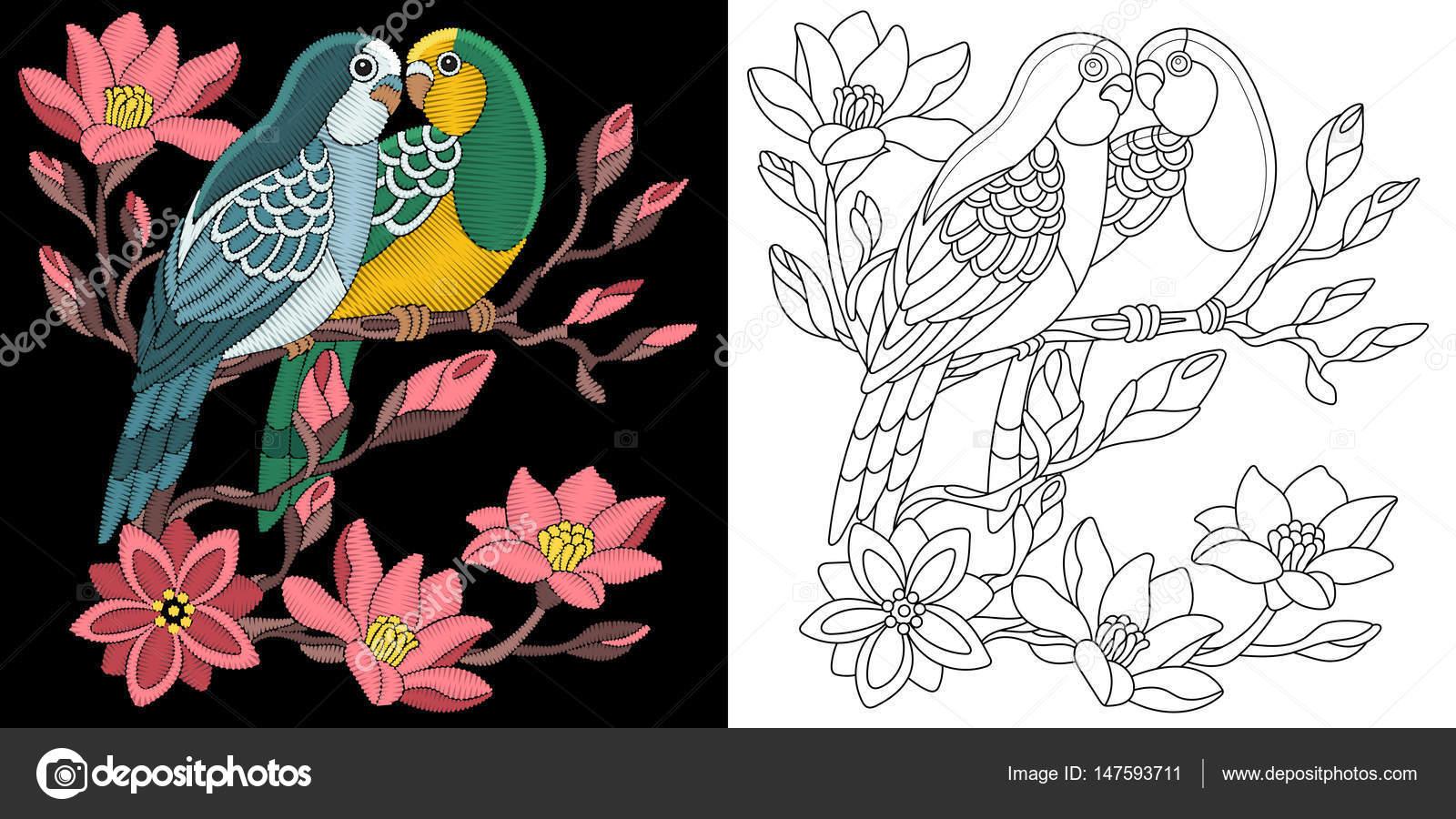 diseño de bordado Periquito loros — Archivo Imágenes Vectoriales ...