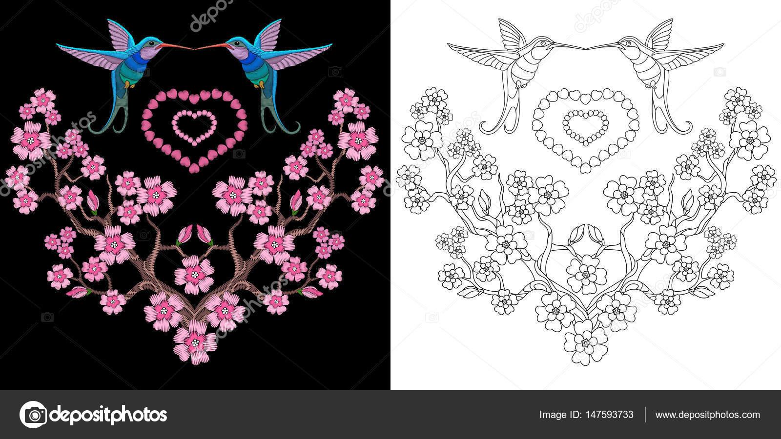 Imágenes: colibrí para descargar | diseño del bordado de colibrí y ...