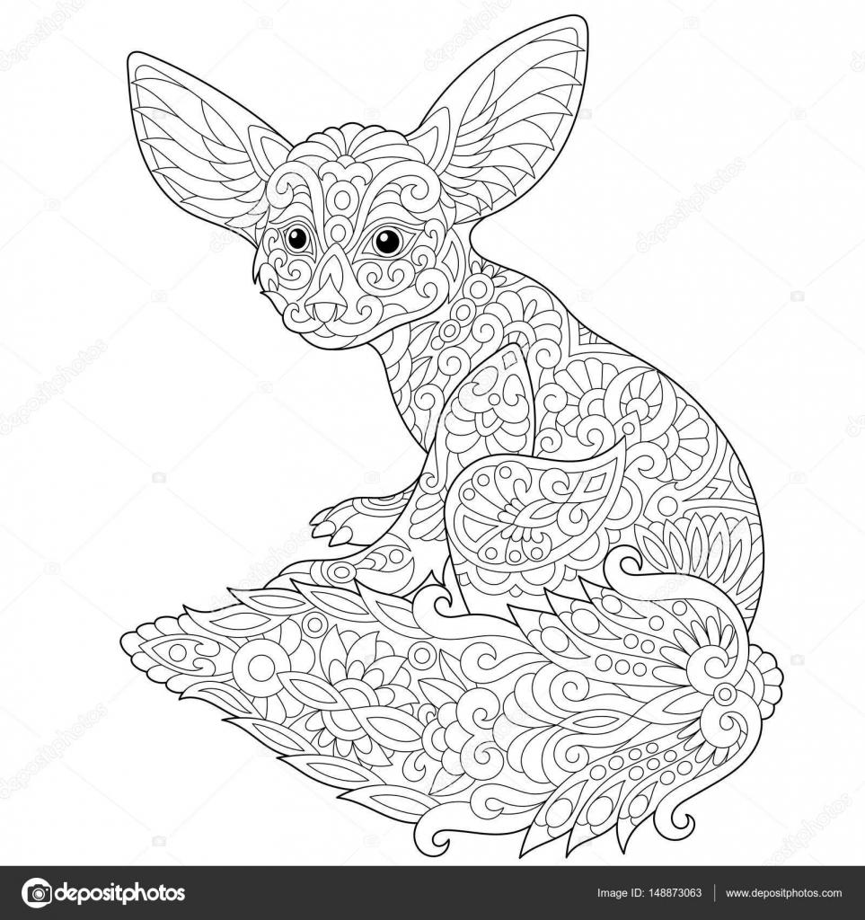 zentangle stylized fennec fox u2014 stock vector sybirko 148873063
