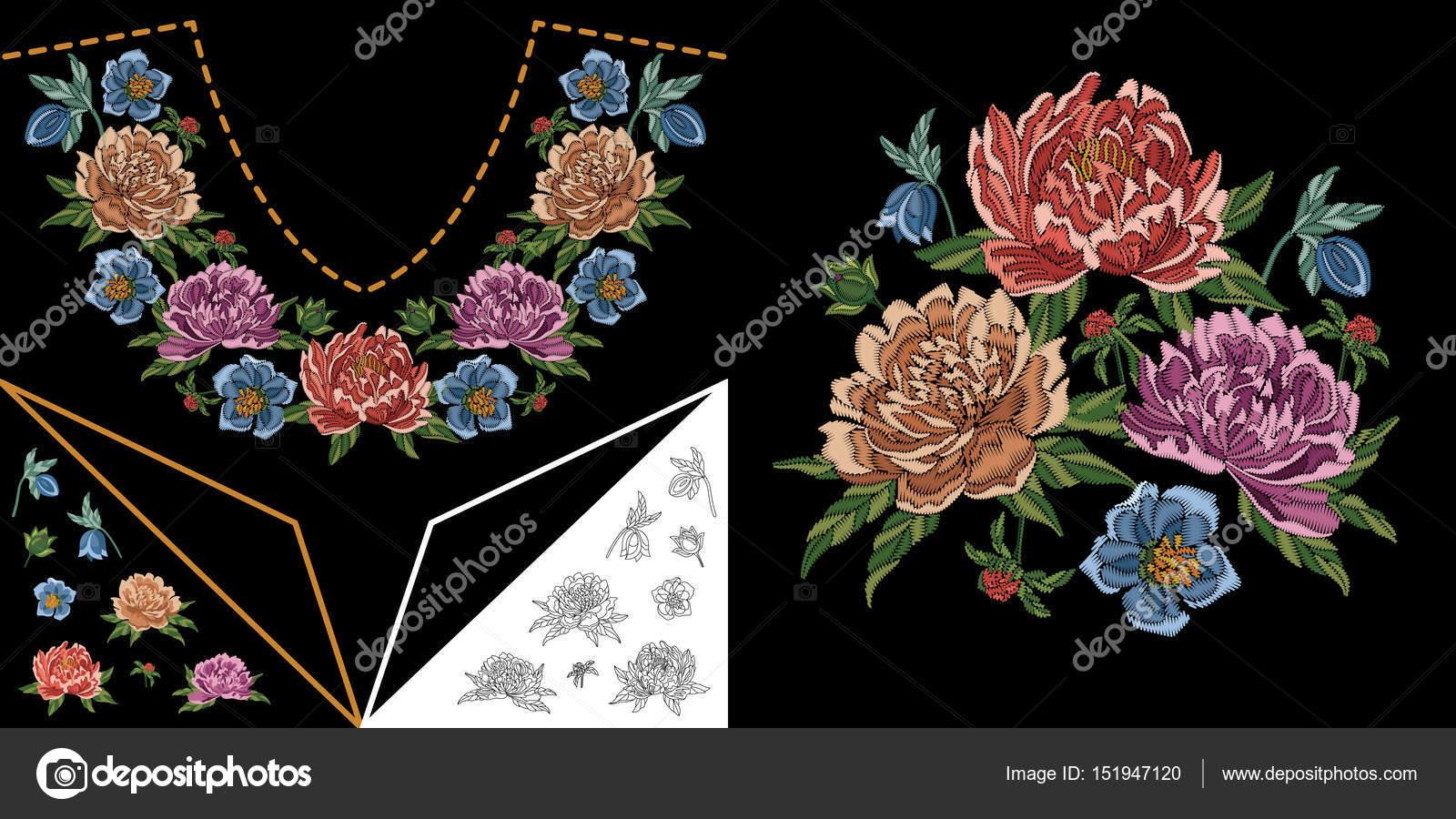 Dibujos Descargar Flores Para Bordar Diseno De Flores Escote