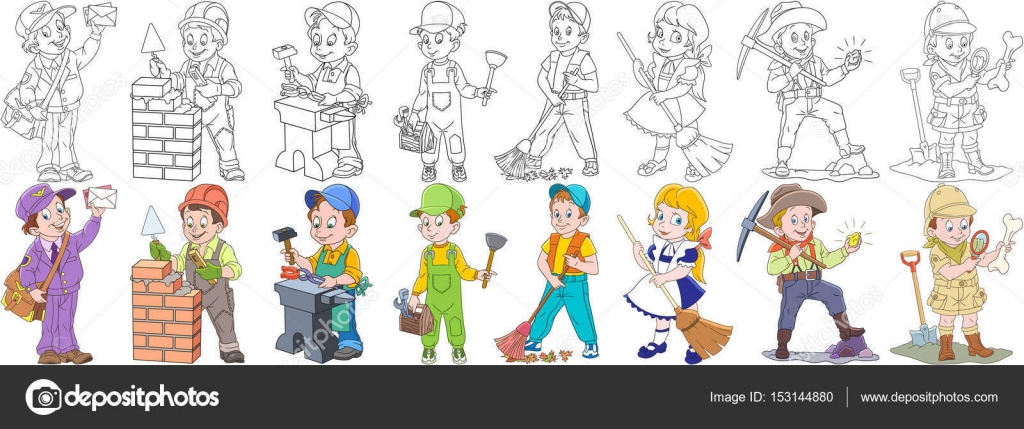 conjunto de profesiones dibujos animados personas — Vector de stock ...