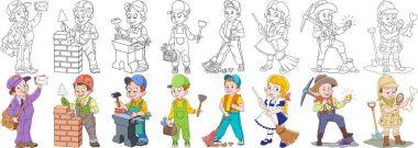 cartoon people professions set
